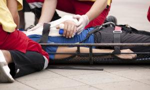 injured man in stretcher